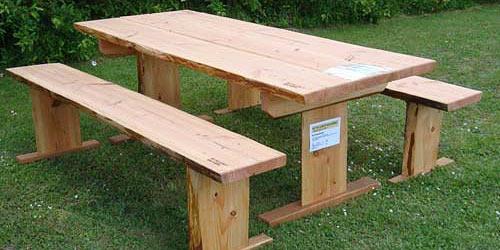Bord-bænkesæt til haven i douglasgran og egetræ